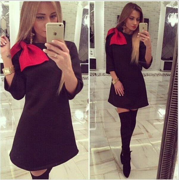 Shoulder Bowknot 3/4 Sleeves Mini Dress - MeetYoursFashion - 1