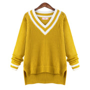 Peach Collar Sexy Knit Pullover Solid Color Sweater - Meet Yours Fashion - 4