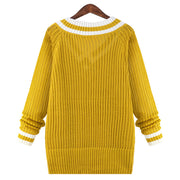 Peach Collar Sexy Knit Pullover Solid Color Sweater - Meet Yours Fashion - 5