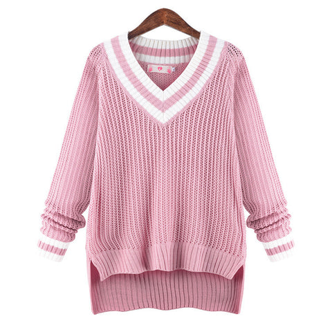 Peach Collar Sexy Knit Pullover Solid Color Sweater - Meet Yours Fashion - 2