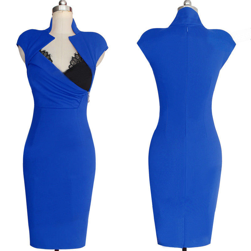 Polyester Splicing V-neck Sleeveless Knee-Length Dress