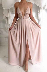 Spaghetti V-neck Backless Solid Color Long Dress - Meet Yours Fashion - 2