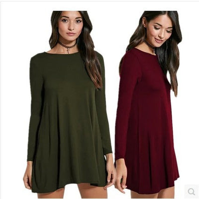 Fashion Pure Color Long Sleeve Loose Short Dress