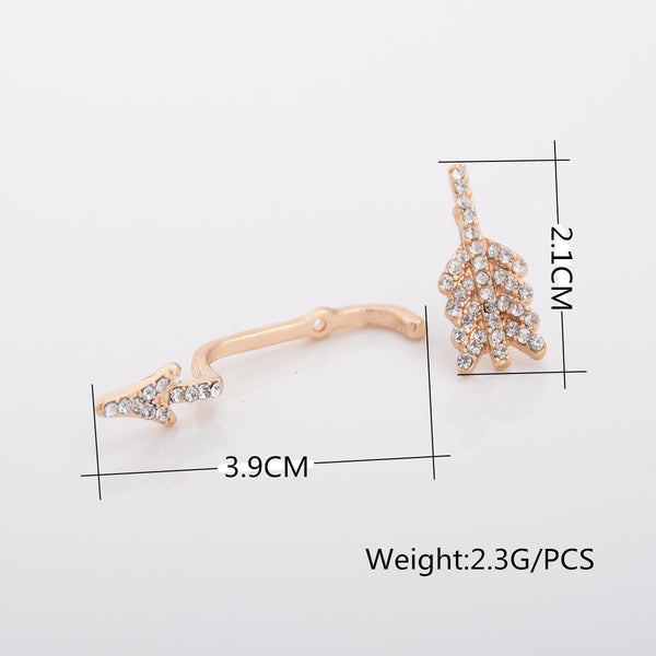 Exaggerate Crystal Separate Arrow Earrings