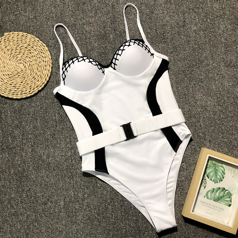 Sexy Print Belt High Rise High Cut Swimsuit