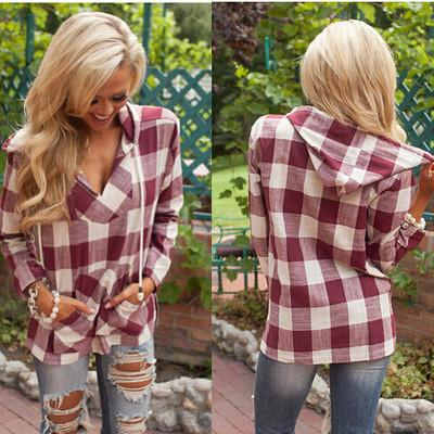 Hooded Deep V-neck Pocket String Casual Plaid Blouse - Meet Yours Fashion - 2