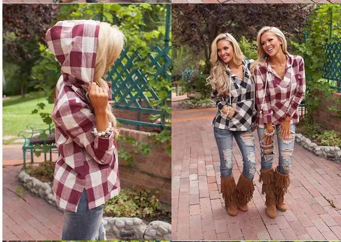 Hooded Deep V-neck Pocket String Casual Plaid Blouse - Meet Yours Fashion - 4