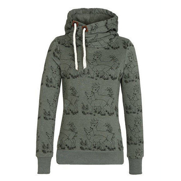 Deer Print Drawstring Womens Hoodie Sweatshirt - MeetYoursFashion - 4