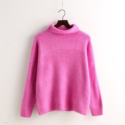 High Collar Solid Color Loose Pullover Sweater