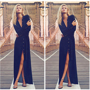 V-neck Sexy Chiffon Long Sleeves Beach Party Full Dress - Meet Yours Fashion - 1