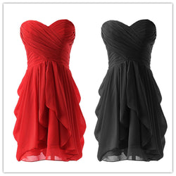 Sterpless Solid Color Irregular Ruffles Homecoming Party Dress - Meet Yours Fashion - 1