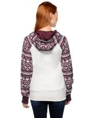 Print Pullover Hooded Pocket Splicing Long Sleeves Hoodie - Meet Yours Fashion - 4