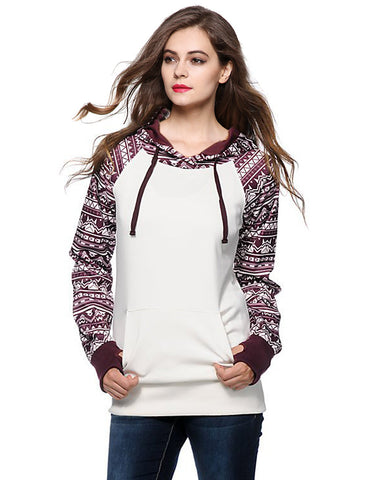 Print Pullover Hooded Pocket Splicing Long Sleeves Hoodie - Meet Yours Fashion - 1