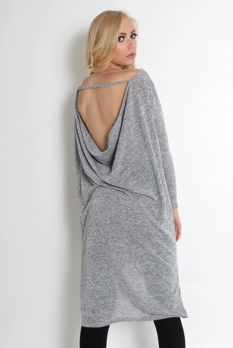 Loose Backless Split Hems Dress