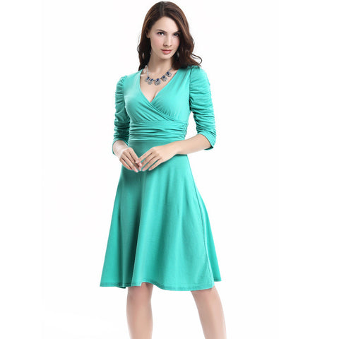V-neck Ruched Empire Half Sleeves Knee-length A-line Dress - MeetYoursFashion - 6