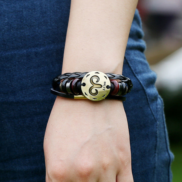 Aries Constellation Woven Leather Bracelet