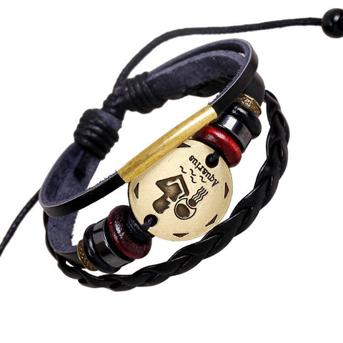 Aquarius Constellation Woven Leather Bracelet