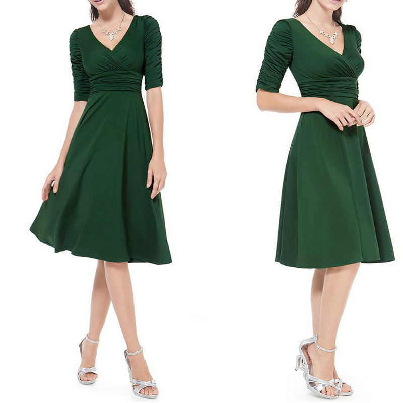 V-neck Ruched Empire Half Sleeves Knee-length A-line Dress - MeetYoursFashion - 15