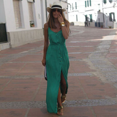 Spaghetti Strap V-neck Pure Color Split Long Dress - Meet Yours Fashion - 2