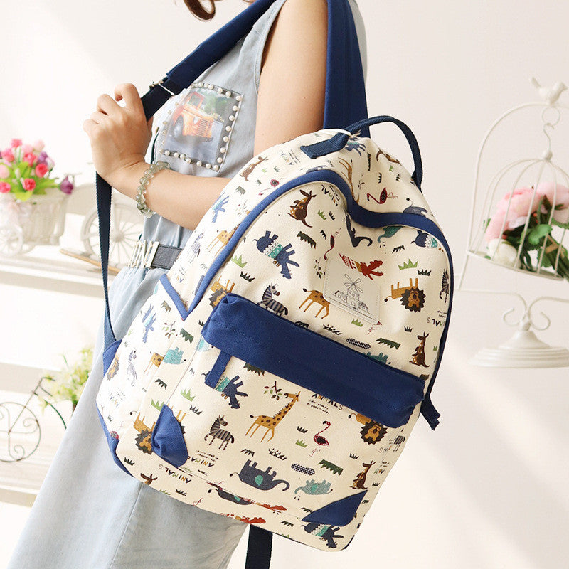 Cute Animal Print Female Travel Leisure Fresh School Backpack