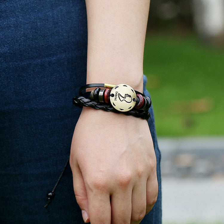 Leo Constellation Woven Leather Bracelet
