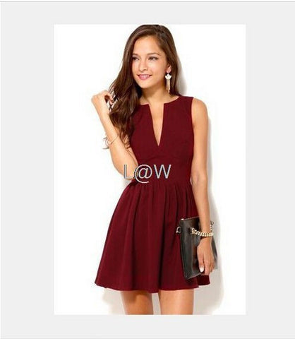 Sexy Sleeveless Deep V-neck High Waist Dress
