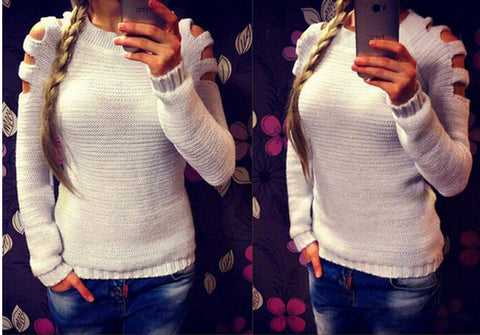 Cold Shoulder Slim Solid Round Neck Short Pullover Sweater - Meet Yours Fashion - 3