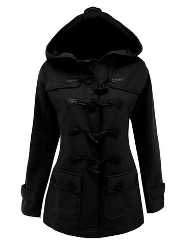 Button Pocket Long Warm Hooded Trench Coat - Meet Yours Fashion - 3
