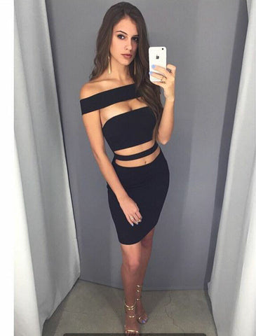 Bodycon Off Shoulder Sleeveless Hollow Out Short Dress - Meet Yours Fashion - 1
