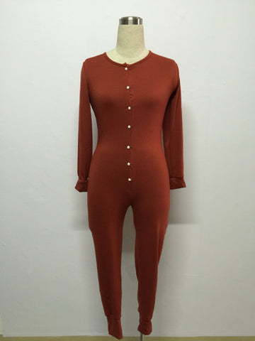 Pure Color V-neck Button Decoration Knit Long Slim Jumpsuit