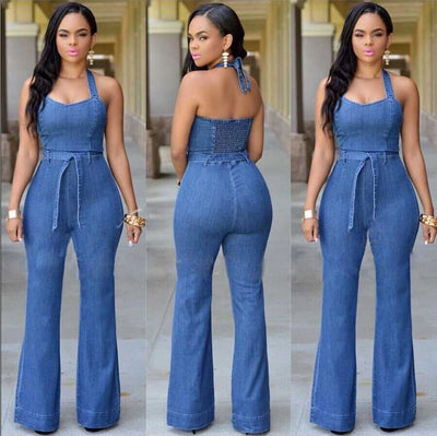 Halter Bell-bottoms Sheath Backless Pure Denim Jumpsuits - Meet Yours Fashion - 1