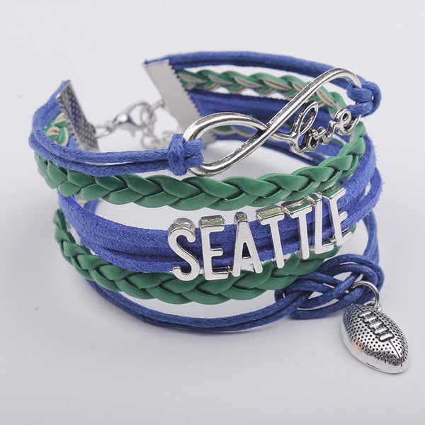 Bright Letters Football Hand Woven Bracelet