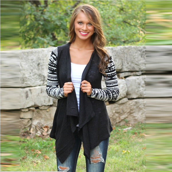 Asymmetric Print Splicing Long Sleeve Cardigan