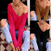 V-neck Asymmetric Solid Color Pullover Sweater - Meet Yours Fashion - 2