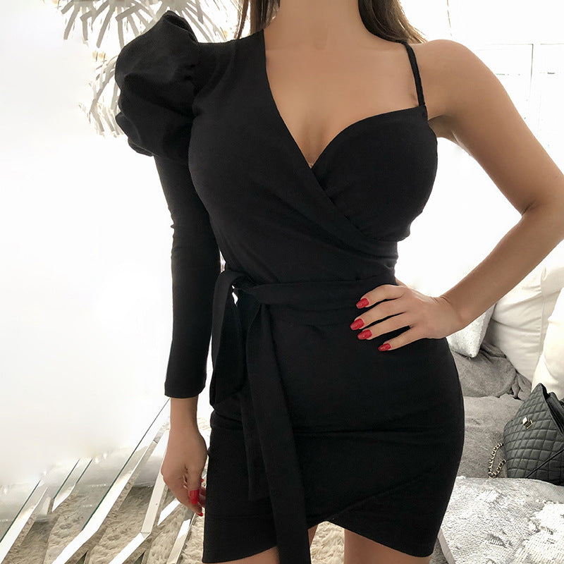 One Shoulder Bodycon Corset Wrap V Neck Dress