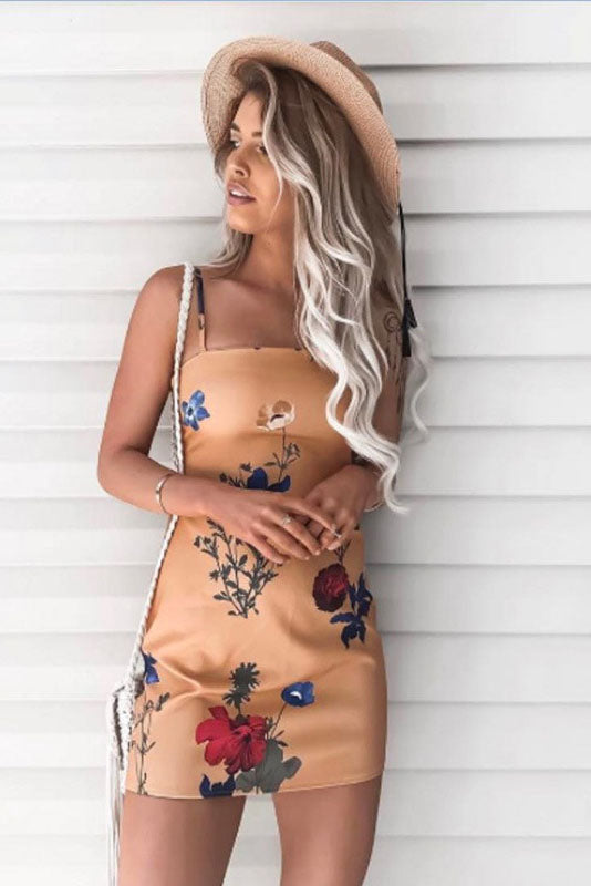 Backless Flower Print Spaghetti Straps Short Dress