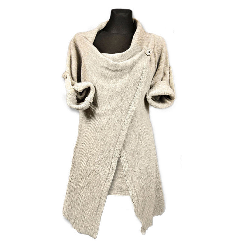 Cardigan Pile Collar Pure Color Irregular Knit Sweater - Meet Yours Fashion - 5