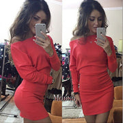Bodycon Boat Neck Long Sleeves Short Dress - Meet Yours Fashion - 5