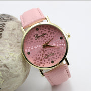 Fashion Flower Print Bright Leather Watch