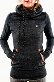 Embroidered Pocket Pure Color Womens Hoodie - Meet Yours Fashion - 3