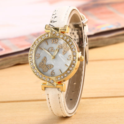 Crystal Butterfly Leather Gift Watch