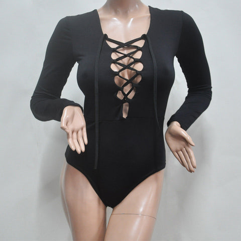 Deep V-neck Lace Up Long Sleeve Triangle Short Jumpsuit