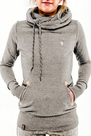 Embroidered Pocket Pure Color Womens Hoodie - Meet Yours Fashion - 4