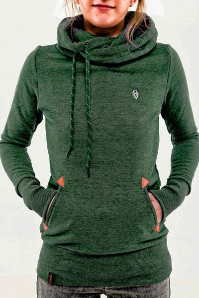 Embroidered Pocket Pure Color Womens Hoodie - Meet Yours Fashion - 5