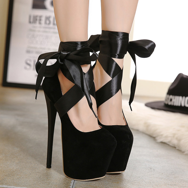 Straps Cross Round Toe Platform Super High Stiletto Heels Party Shoes