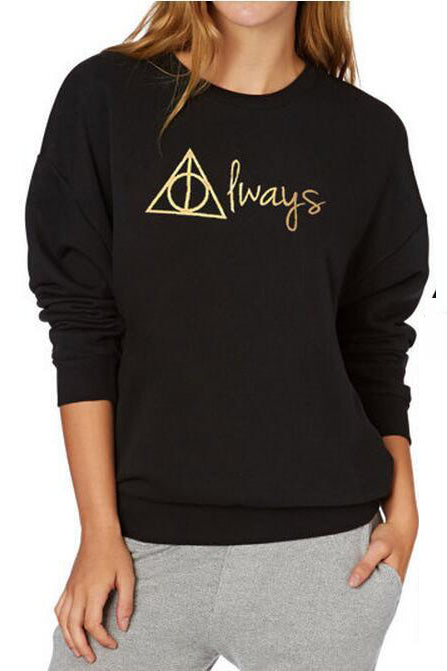 Back and Front Letter Print Loose Sweatshirt