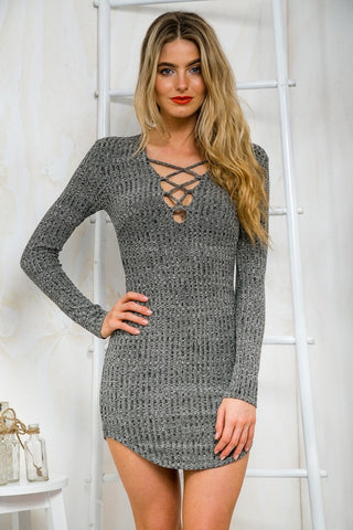 Women Knitting  Long Sleeve Sweater Lace  Bodycon Dress - MeetYoursFashion - 3