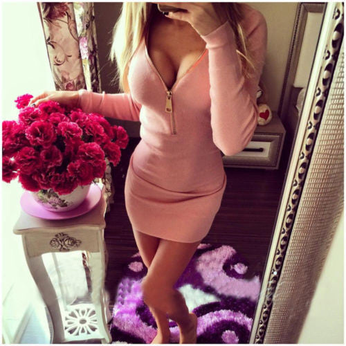 Deep V-neck Long Sleeves Bodycon Mini Club Dress - MeetYoursFashion - 4