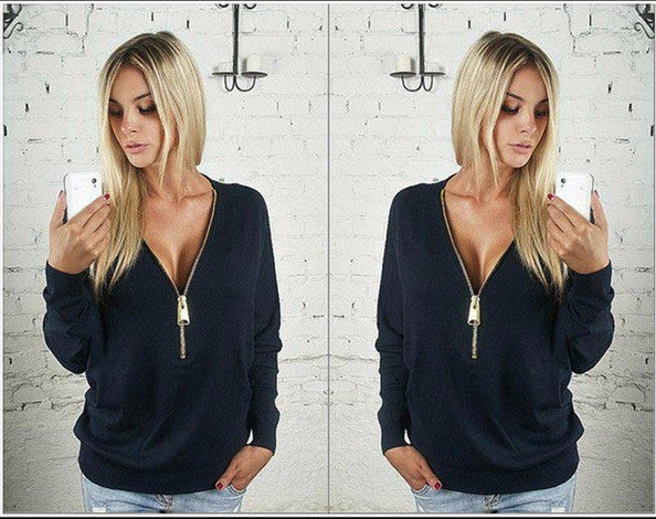 Deep V-neck Zipper Long Sleeves Casual Loose Bat-wing Sleeve Blouse - Meet Yours Fashion - 2