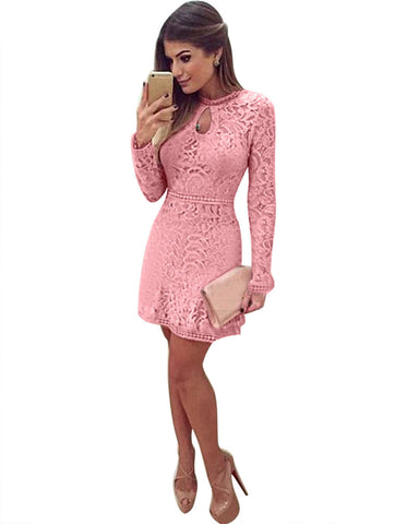 Lace Hollow Out Long Sleeves Mini Party Dress - Meet Yours Fashion - 9